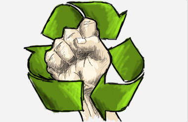 An upraised fist against a recycling logo